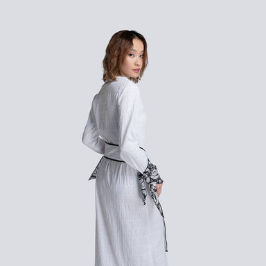 Jodi Shirt Dress in White (Black Cuffs) - Dresses - Akosée - Naiise