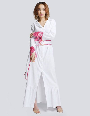 Jodi Shirt Dress in White (Pink Cuffs) - Dresses - Akosée - Naiise