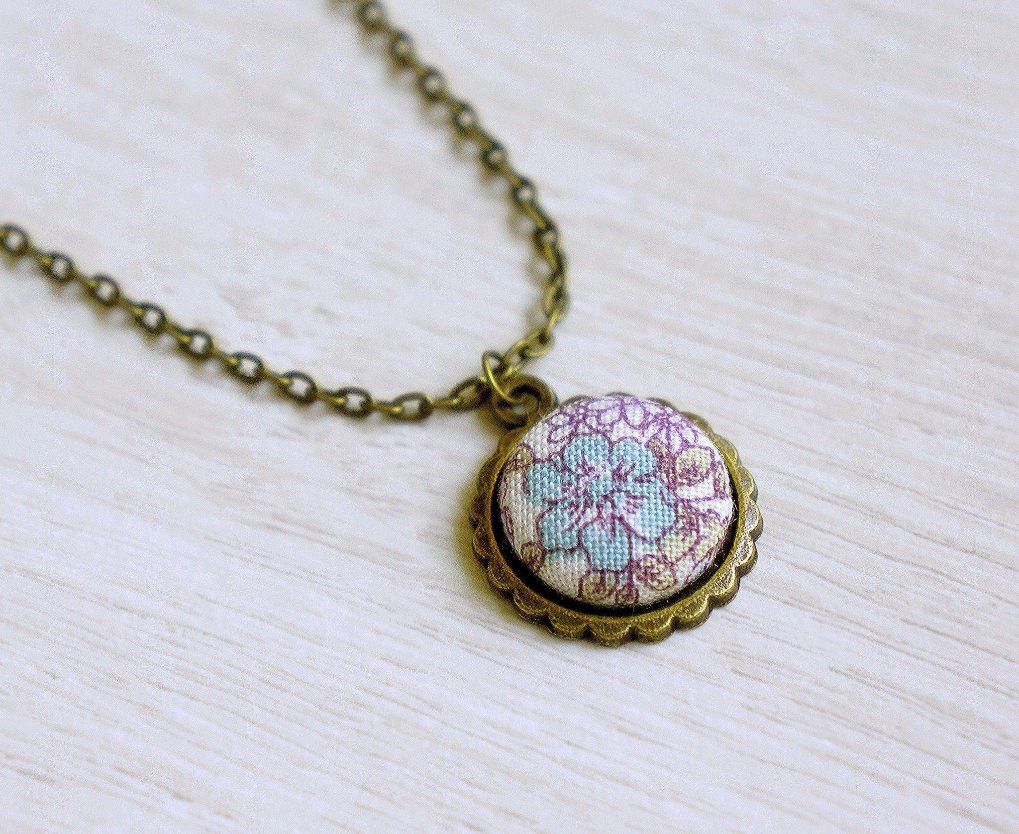 Julia Rose Handmade Fabric Button Necklace - Necklaces - Paperdaise Accessories - Naiise