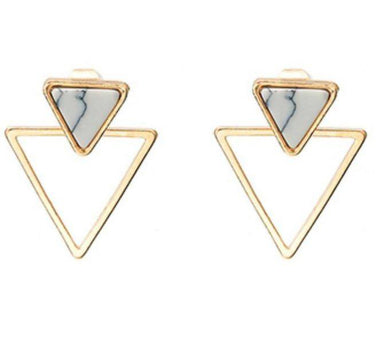 Double Triangle White Marble Earrings - Earring Studs - Whispers & Anarchy - Naiise