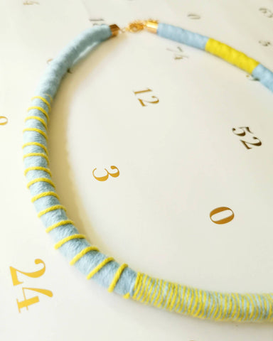 Tribeca Multi-wear Rope Necklace/Bracelet - Baby Blue/Chartreuse Necklaces Playtime Rebs Studio