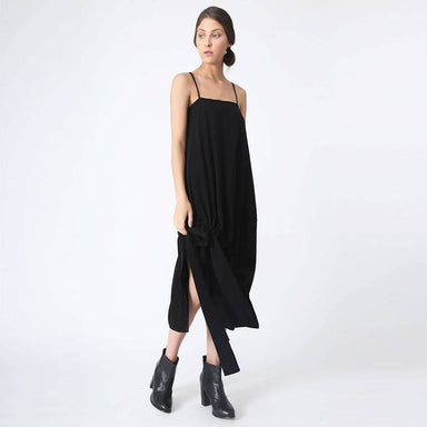 Kai Midi Drawstring Dress - Black Dresses Salient Label