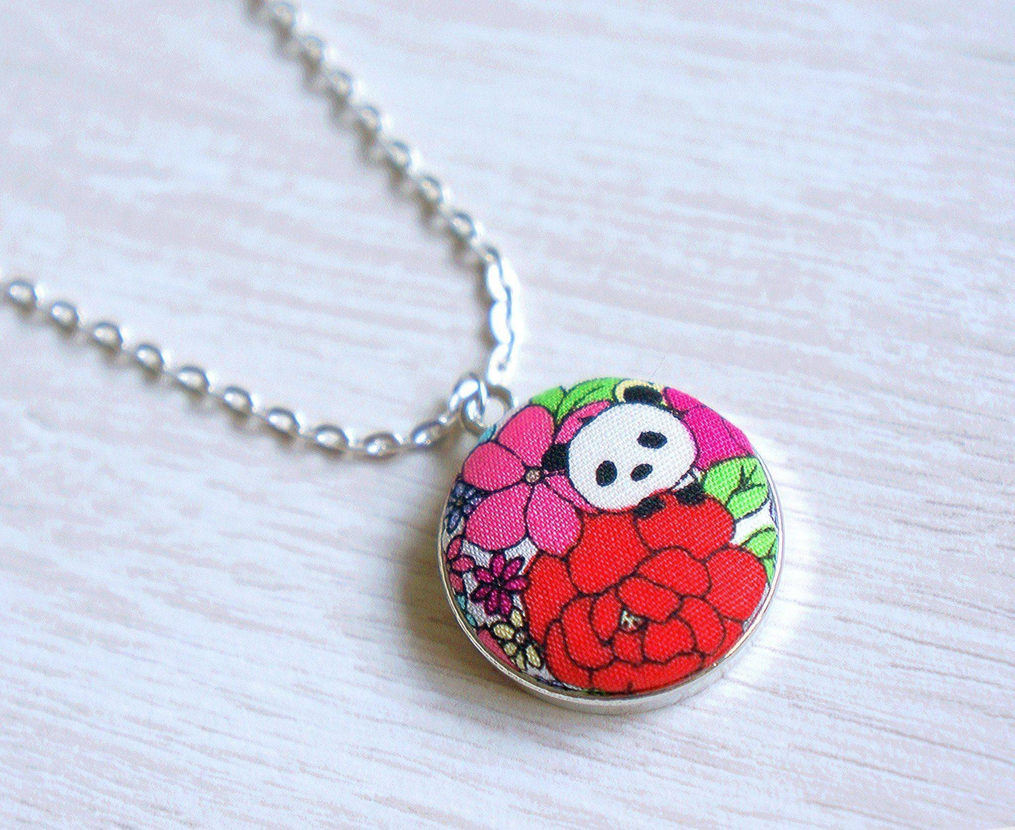 Kazumi Panda Handmade Fabric Button Necklace - Necklaces - Paperdaise Accessories - Naiise