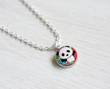 Kazumi Panda SM Handmade Fabric Button Necklace - Necklaces - Paperdaise Accessories - Naiise