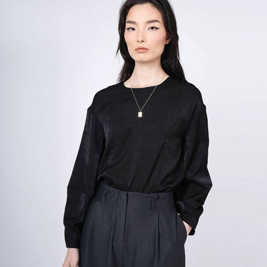 Kimble Lantern Sleeve Blouse in Anthracite - Women's Tops - Salient Label - Naiise