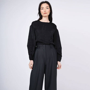 Kimble Lantern Sleeve Blouse in Anthracite Women's Tops Salient Label
