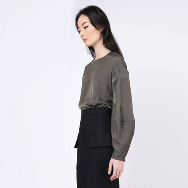 Kimble Lantern Sleeve Blouse in Dark Olivine Women's Tops Salient Label