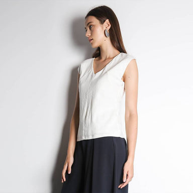 Kit Cut-Out Back Top in White Women's Tops Salient Label