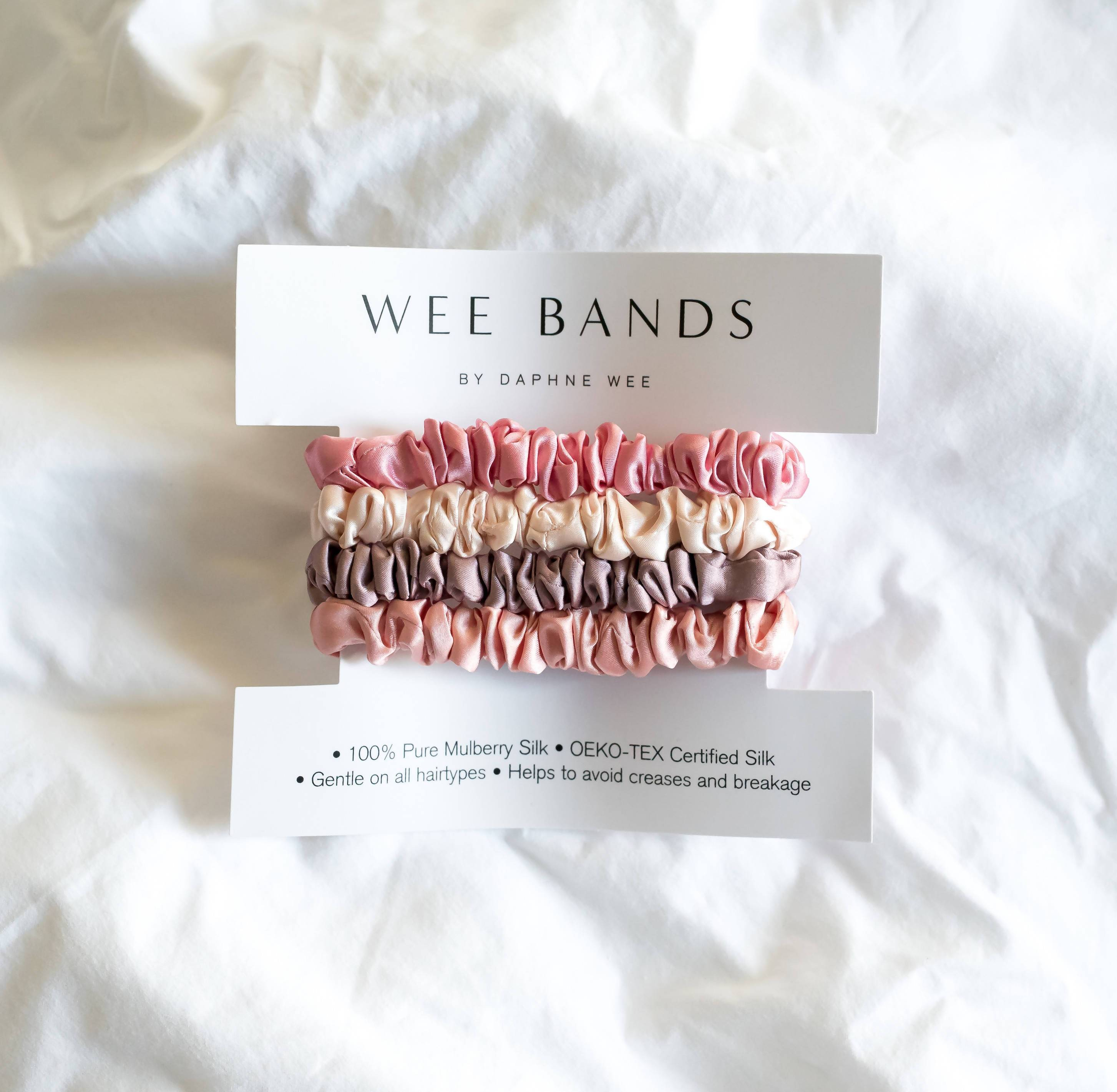 100% Pure Mulberry Wee Bands Silk Hair Scrunchies - Flamingo Collection - Hair Accessories - Wee Bands - Naiise