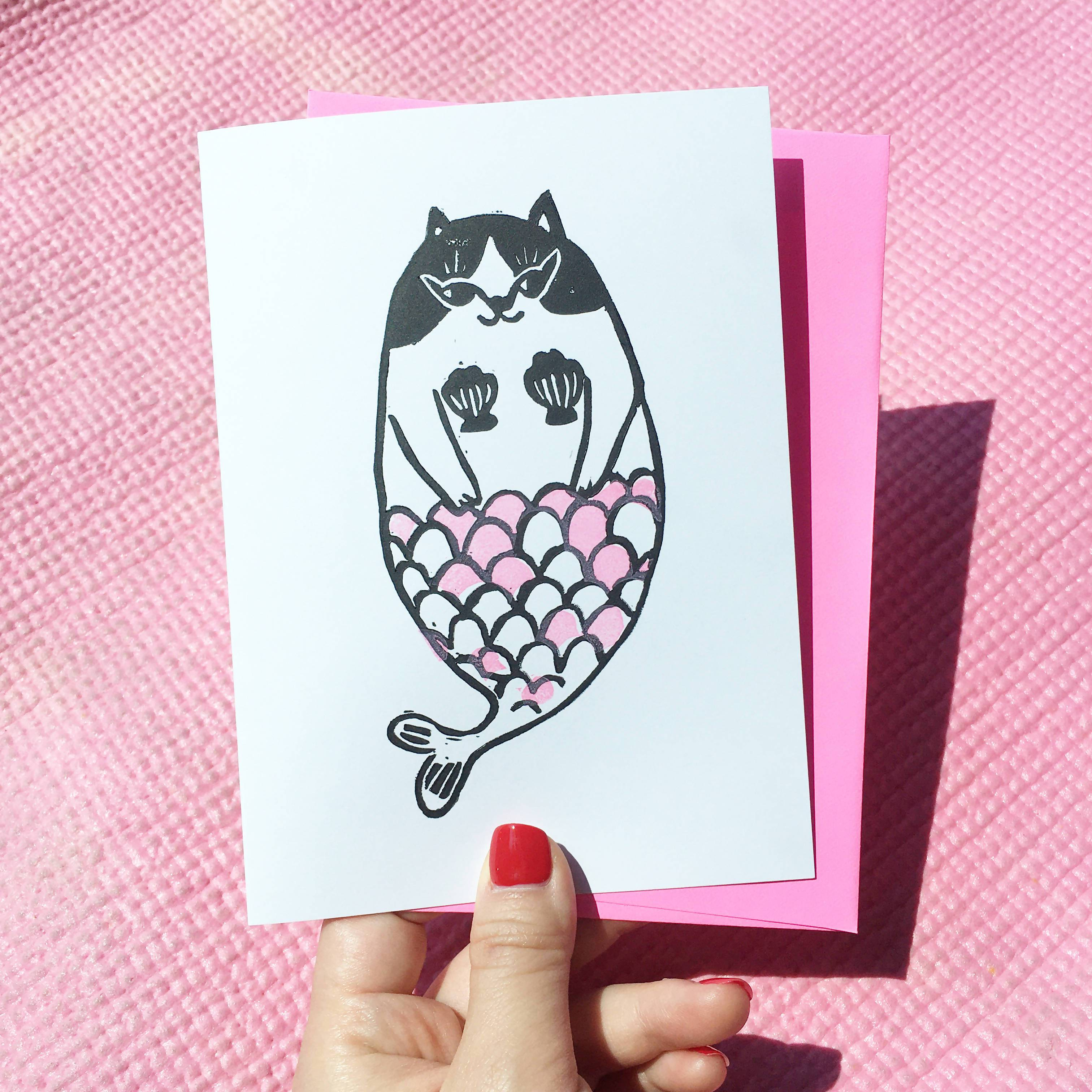 Pink Meowmaid Cat - Hand-Printed Cat Greeting Card - Generic Greeting Cards - Ping Hatta. Studio - Naiise