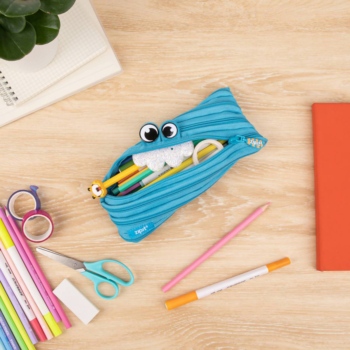 Zipit Party Monster Pouch Blue Pencil Cases Zigzagme