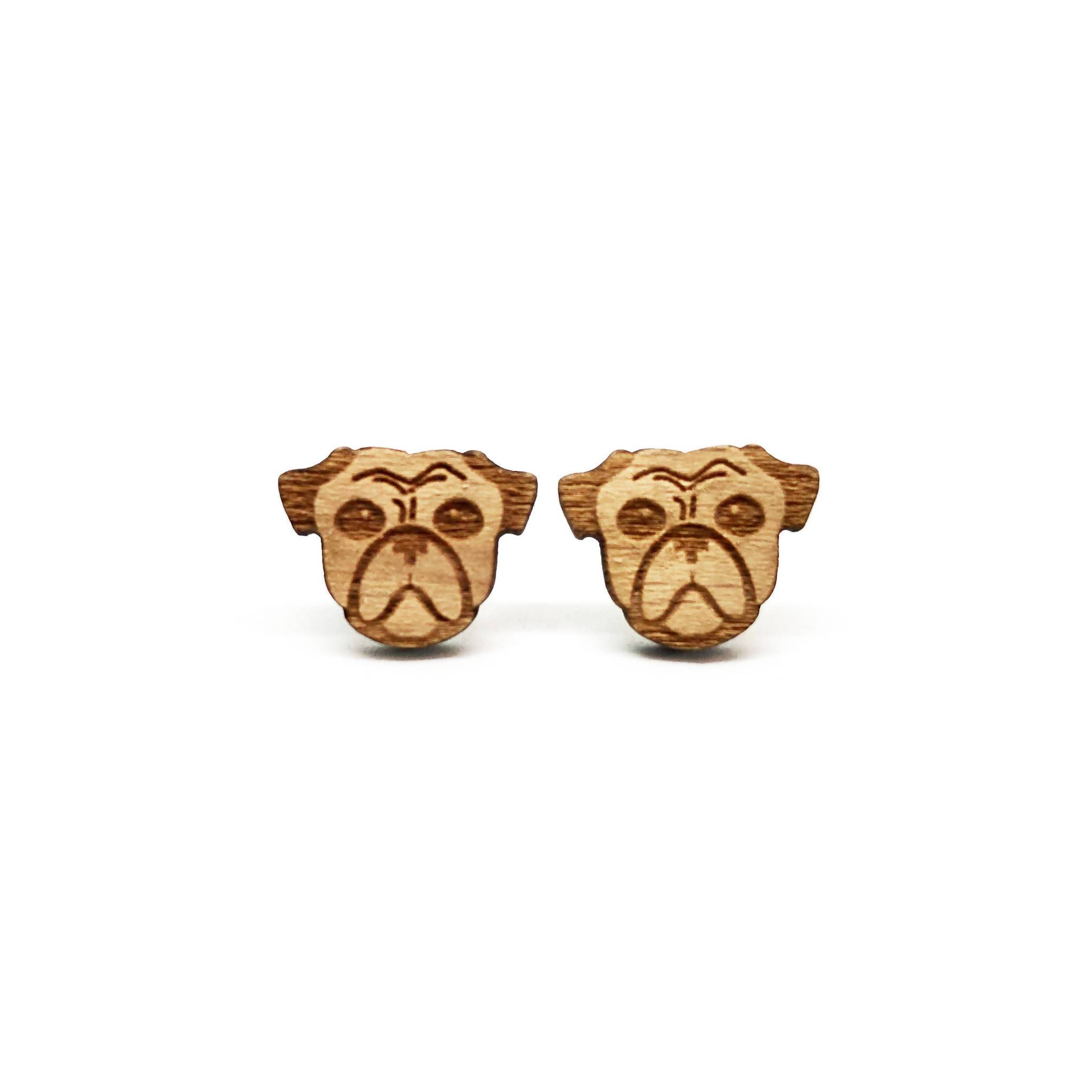 Lazy Bulldog Laser Cut Wood Earrings - Earring Studs - Paperdaise Accessories - Naiise