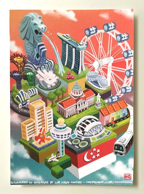 Landmarks of Singapore Local Prints Lim Hang Kwong
