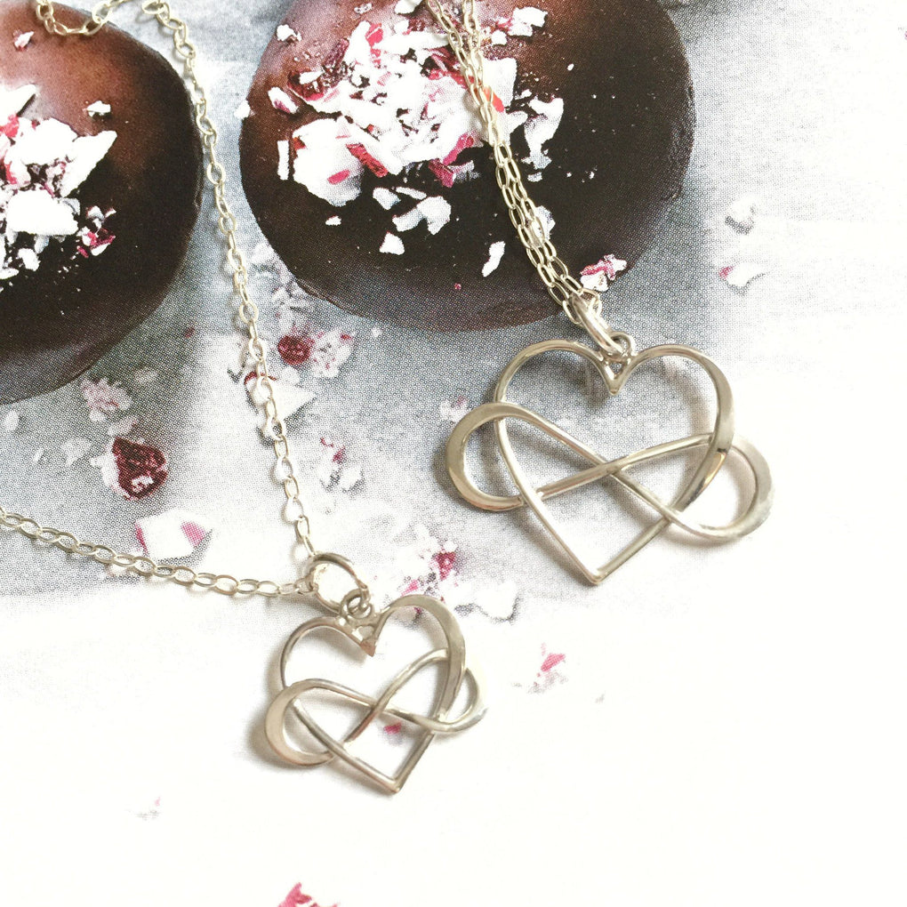 Large Infinity Heart Necklace - Sterling Silver Necklaces JL Heart