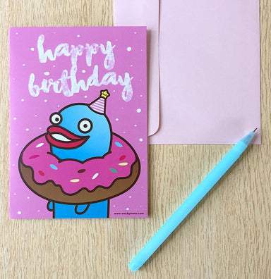 Lazyworm Happy Birthday Greeting Card Birthday Cards Wackymons
