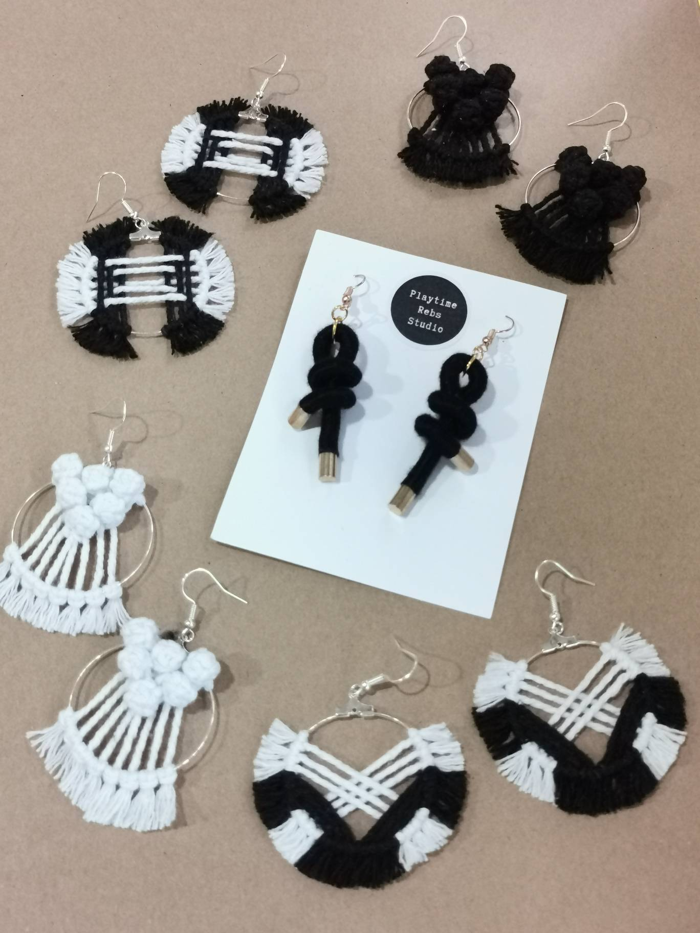 Intersect Macrame Hoop Earrings - Gray & White - Earrings - Playtime Rebs Studio - Naiise