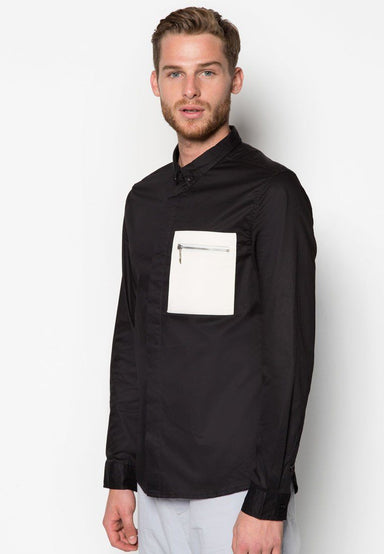 Leather Pocket with Zip Black Shirt - Men's Shirts - CMDI - Naiise