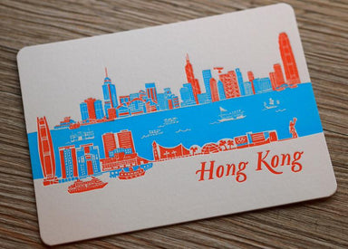 Letterpress Travel Postcard - Hong Kong Skyline (day) Postcards ditto ditto