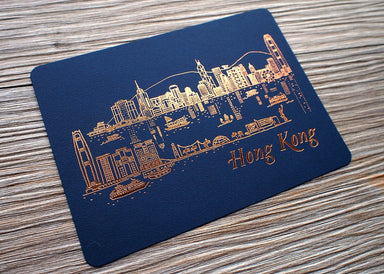 Letterpress Travel Postcard - Hong Kong Skyline (night) Postcards ditto ditto