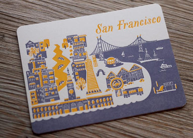 Letterpress Travel Postcard - San Francisco Postcards ditto ditto