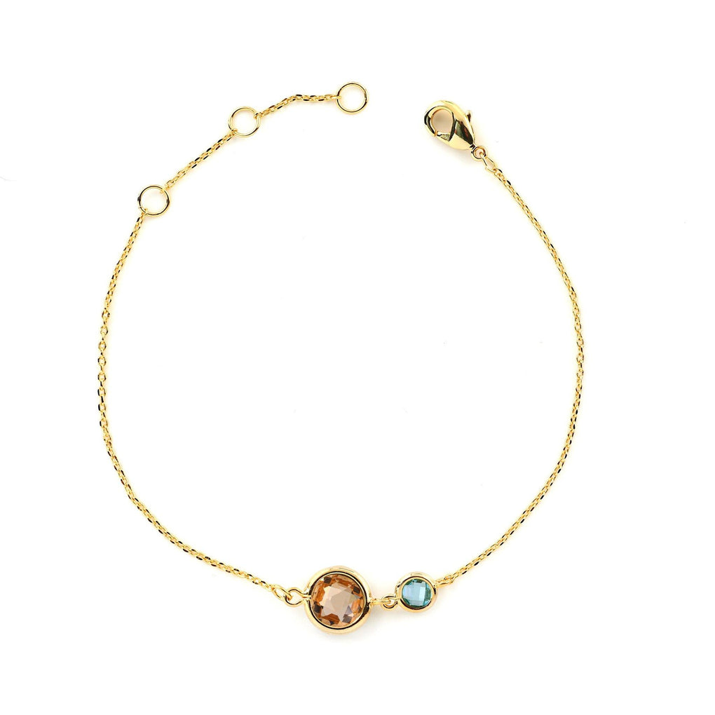 Light Bracelet - 2 Circular Crystals LB39 Bracelets Heart Victoria Champagne Gold and Aquamarine