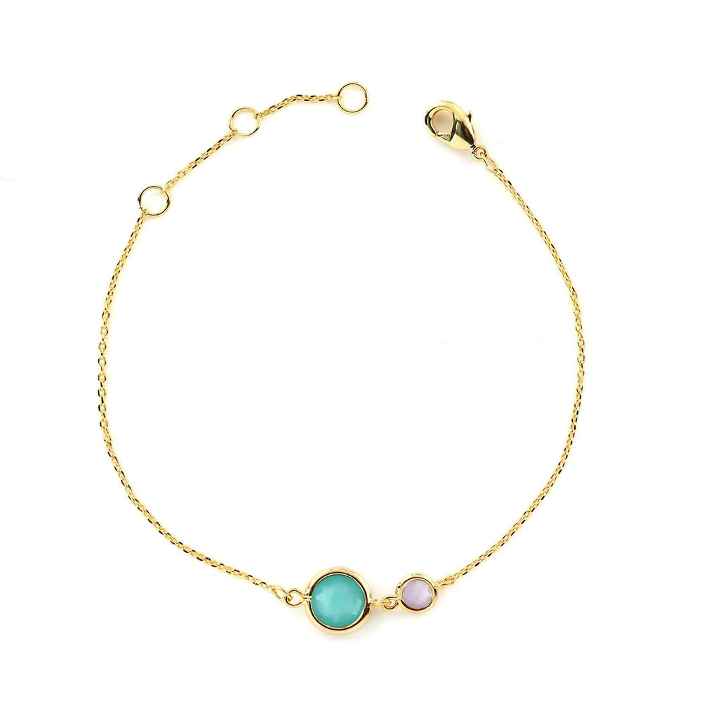 Light Bracelet - 2 Circular Crystals LB39 Bracelets Heart Victoria Mint Turquoise and Blush Rose