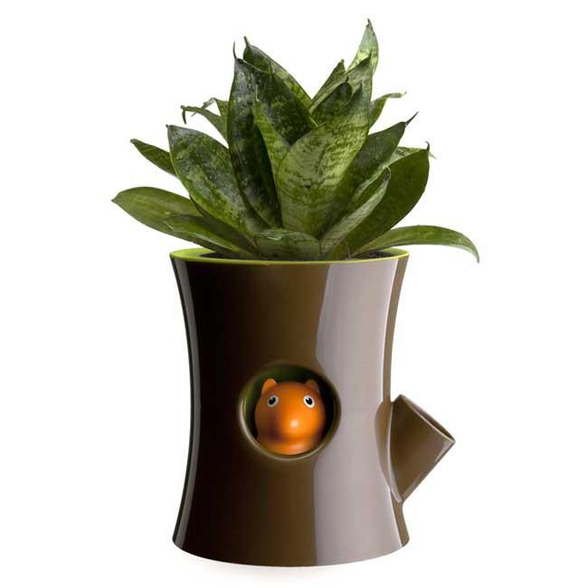 Log & Squirrel Self Watering Plant Pot Planters Qualy