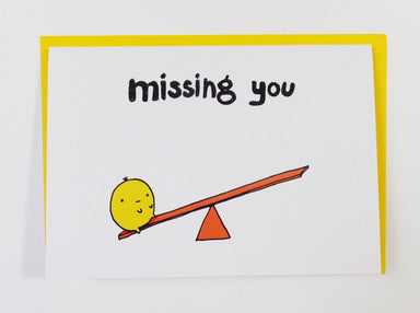 Lonely Lump - Seesaw Missing You Card - Miss You Cards - Steak & Eggs Please - Naiise