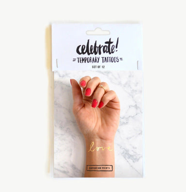 'Love' Gold FlashTattoos Set of 12 - Temporary Tattoos - Daydream Prints - Naiise