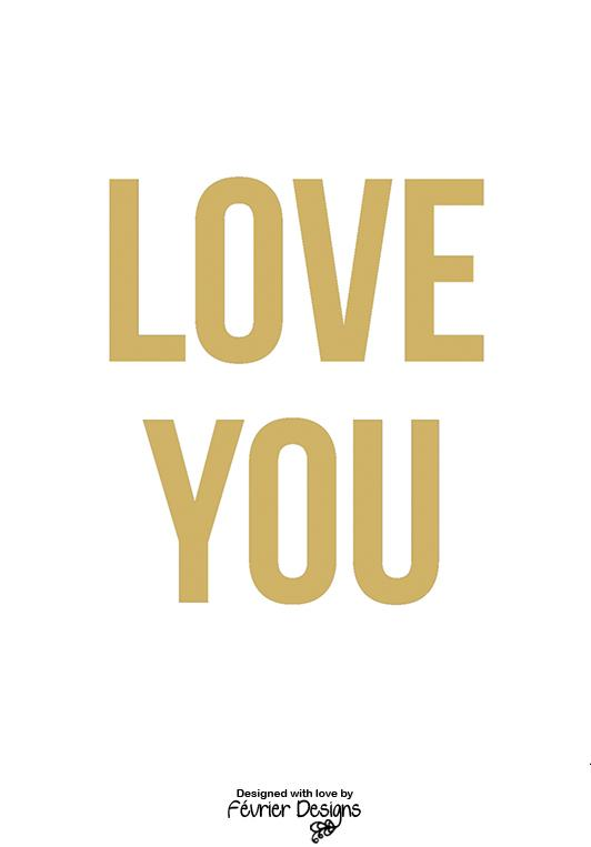 Love You Gold Card Love Cards Fevrier Designs