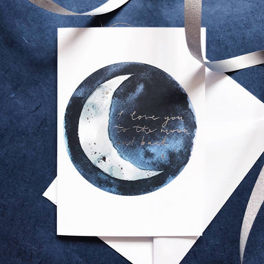 Love You To the Moon and Back | Silver Foiled Greeting Card - Love Cards - Papercranes Design - Naiise