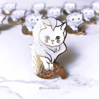 White Merlion Cat Pin - Brooches - The Cat Inspired - Naiise