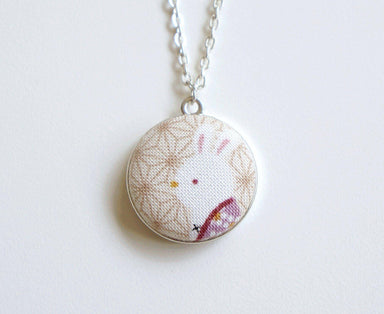 Maeko Bunny Handmade Fabric Button Necklace - Necklaces - Paperdaise Accessories - Naiise