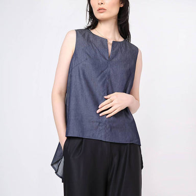 Mako Slit Neckline Top with Hi-lo Hem Indigo - Women's Tops - Salient Label - Naiise