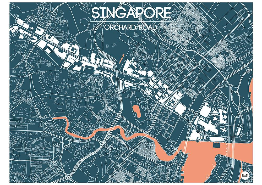 Map Of Orchard Road - Dark Blue Maps UrbanXmaps