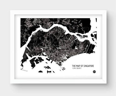 Map Of Singapore - Black - Local Prints - URBAN X MAPS - Naiise