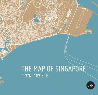 Map Of Singapore - Bronze - Local Prints - URBAN X MAPS - Naiise