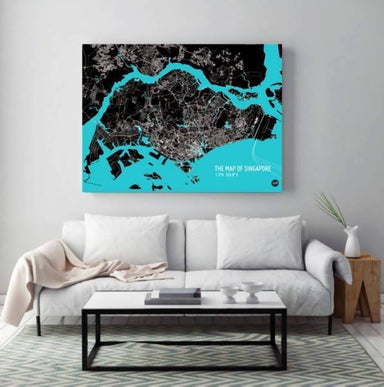Map Of Singapore - Cyan Local Prints URBAN X MAPS Framed