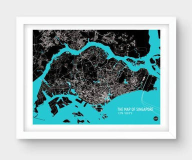 Map Of Singapore - Cyan Local Prints URBAN X MAPS Unframed