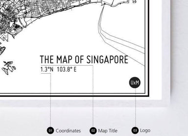 Map Of Singapore - Monochrome - Local Prints - URBAN X MAPS - Naiise
