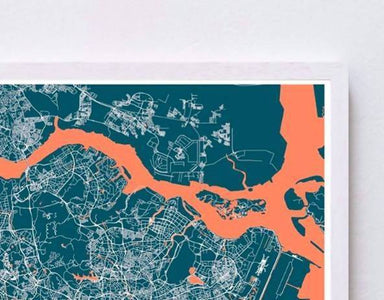 Map Of Singapore - Navy Local Prints URBAN X MAPS Framed