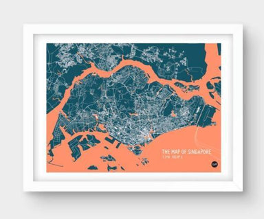 Map Of Singapore - Navy Local Prints URBAN X MAPS Unframed