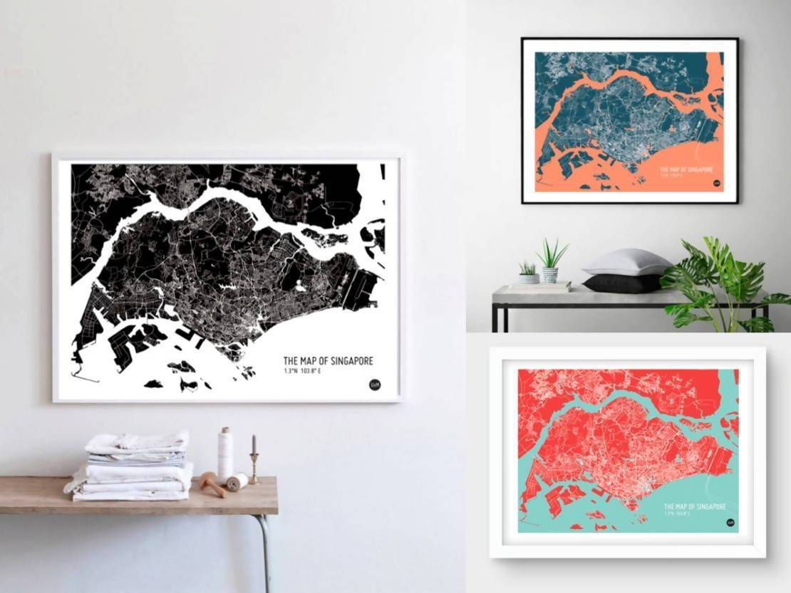 Map Of Singapore - Red Local Prints URBAN X MAPS
