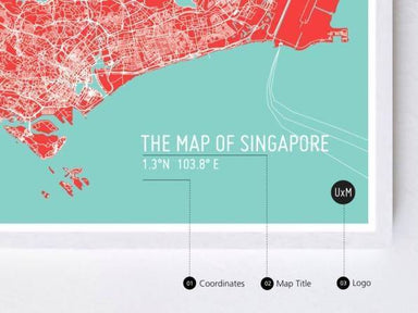Map Of Singapore - Red - Local Prints - URBAN X MAPS - Naiise
