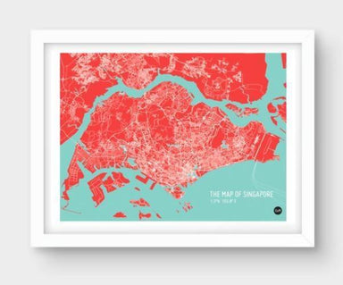 Map Of Singapore - Red Local Prints URBAN X MAPS Unframed