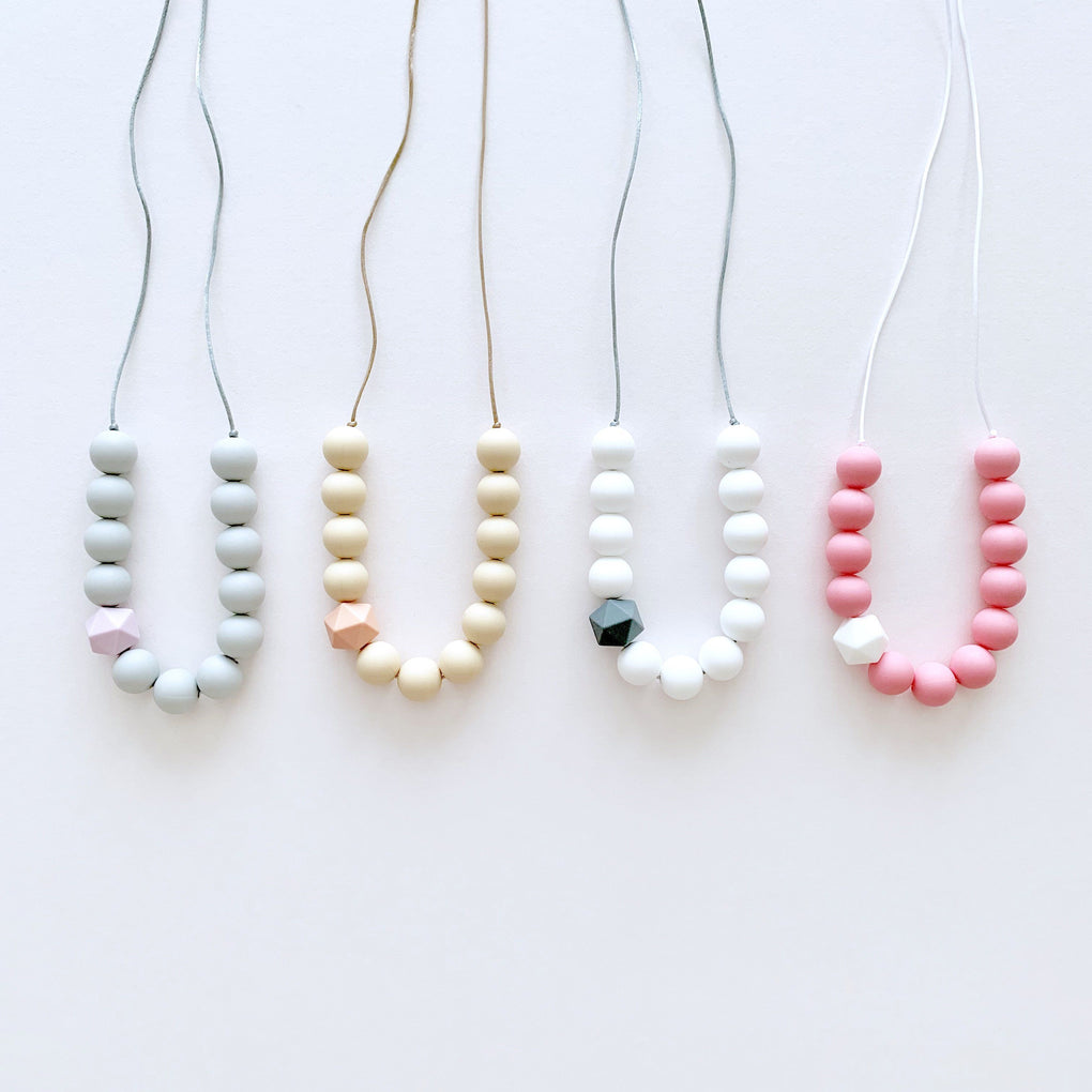 Maple Teether Necklace Teethers Wildberry Store White Bright Pink