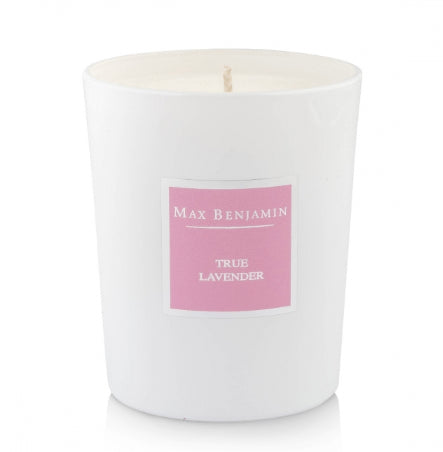 Max Benjamin Classic Scented Glass Candle - True Lavender - Calming Scented Candles Max Benjamin