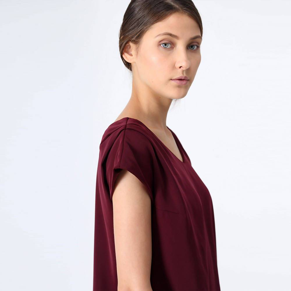 Maya V-neck Long Tunic in Mahogany - Women's Tops - Salient Label - Naiise
