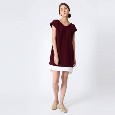 Maya V-neck Long Tunic in Mahogany Women's Tops Salient Label