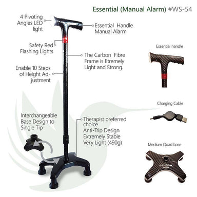 Medium CarbonQuad (Smart Walking Sticks/ Cane/ Aid) Walking Canes Agegracefully Medium CarbonQuad, Essential (Smart Walking Sticks with Manual Alarm)